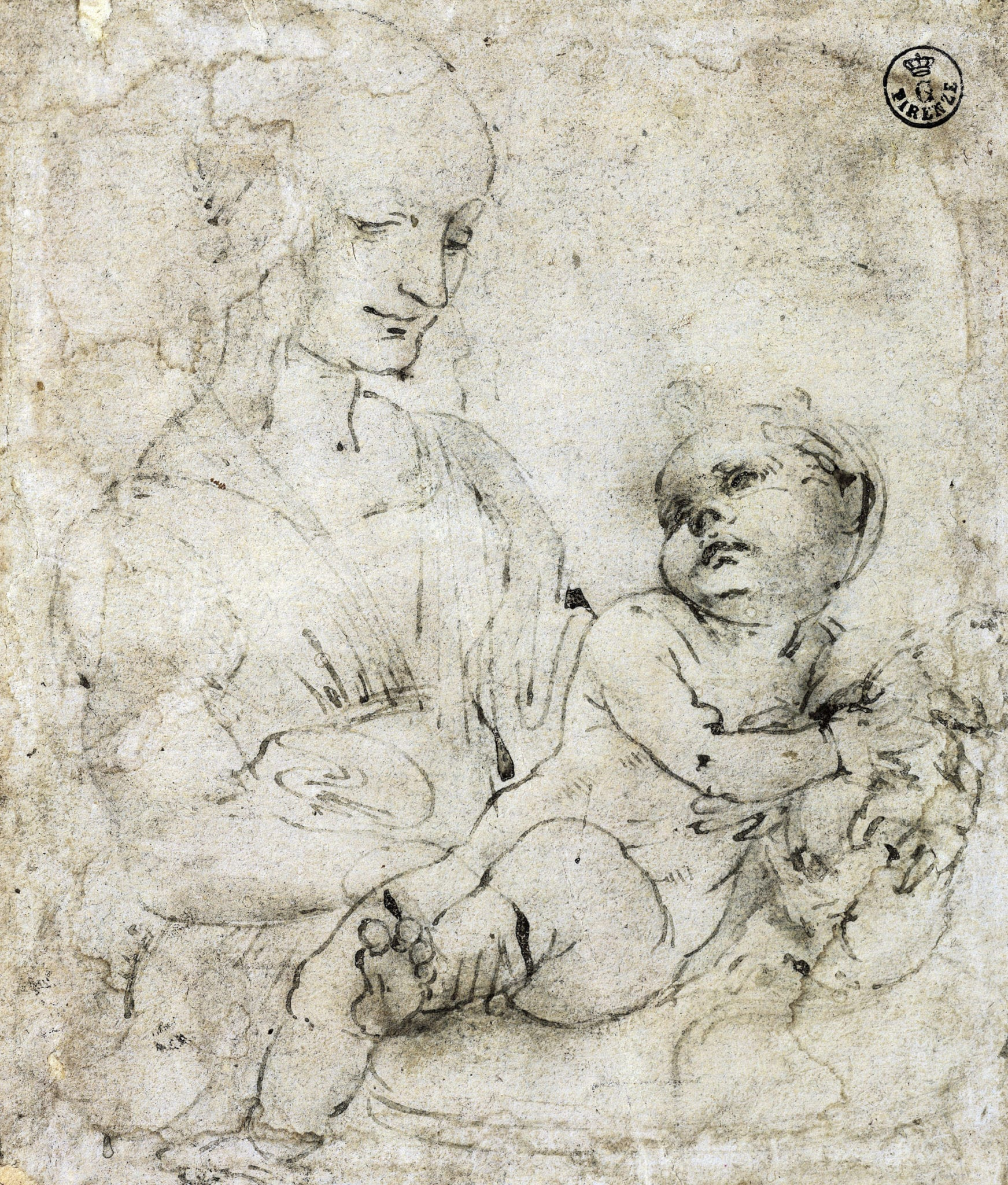michelangelo drawing madonna and child 1525 - 736×864
