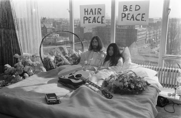 """Yoko Ono and John Lennon during the """"Bed-in"""" in Amsterdam, 1969"""