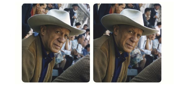 Pablo Picasso at the bull-ring in Arles wearing the white Stetson  given to him by Gary Cooper. © Elizabeth Mouzillat Jowett