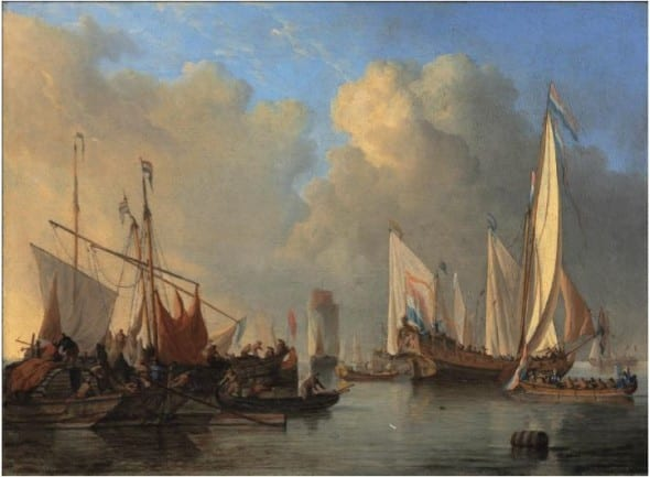 Dutch States Yacht, a smalschip, a Rhine ark and other vessels in a calm, 1673, oil on canvas, by Willem van de Velde II (1633-1707) (estimate: £180,000 to £250,000