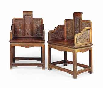 A MAGNIFICENT PAIR OF ZITAN ARMCHAIRS 18TH/19TH CENTURY Estimate: £50,000 - £70,000