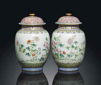 A RARE AND FINELY ENAMELLED PAIR OF FAMILLE ROSE JARS AND COVERS DAOGUANG PERIOD (1821-1850) Estimate: £100,000 - £150,000
