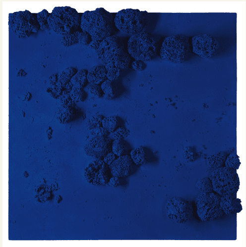 Lot 37  YVES KLEIN 1928 - 1962 RÉLIEF ÉPONGE BLEU (RE 51) signed and dated 59 on the reverse dry pigment and synthetic resin, natural sponges and pebbles on board 40 3/4 x 40 3/8 x 3 1/2 in. 103.5 x 102.5 x 9 cm. Estimate  15,000,000 — 20,000,000 USD   PRICE REALIZED: $