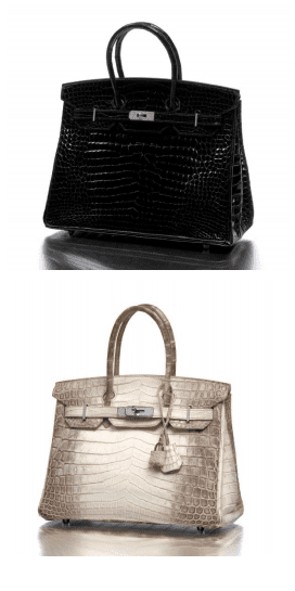 Sac Birkin 35cm, Hermès  Crocodile porosus noir, bijouterie en or blanc et diamants  Pièce unique, Made in France  Estimation : 90 000 – 100 000 € / 125 000 - 140 000 $  Sac Birkin Himalaya 30cm, Hermès  Crocodile niloticus bicolore blanc et gris  Made in France  Estimation : 50 000 – 60 000 € / 70 000 – 83 000 $