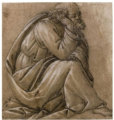 Sandro Botticelli, Study for a seated St. Joseph, his head resting on his right hand,  129 by 124 mm, est. £1-1.5 million