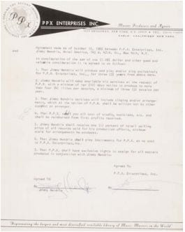 """Hendrix, Jimi  Signed contract with PPX for performing and  recording as """"Jimmy Hendrix."""" And signed thus. New  York: 15 October, 1965. 1 page typescript on PPX  letterhead stationery.   Hendrix signs his infamous first contract, engaging  to perform live and in the studio for $1, thus  beginning the debilitating legal troubles that would  plague his career for the rest of his musical career.  Est. In the range of $100/200,000"""