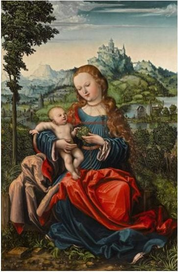 The Master of the Piasecka Johnson Madonna, The Madonna and Child  on a Grassy Bank, oil on panel, 86.35 x 58 cm (est. £600,000-800,000)