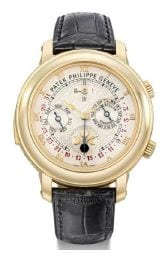 Reference 5002, known as the Sky Moon Tourbillon, is the most complicated wristwatch ever produced by Patek Philipps since its founding in 1839. (estimate: SFr.750,000-1,200,000 / US$840,000-1,300,000)