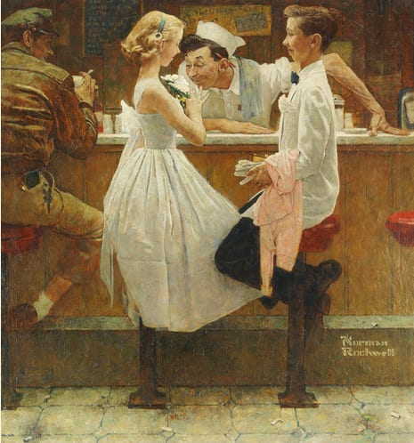NORMAN ROCKWELL 1894 - 1978 AFTER THE PROM signed Norman Rockwell (lower right) oil on canvas 31 1/8 by 29 1/8 inches (79.1 by 74 cm) Painted in 1957. Estimate 8,000,000 — 12,000,000 USD  LOT SOLD. 9,125,000 USD