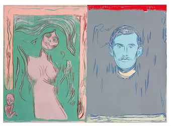 "ANDY WARHOL (1928-1987) ""SELF-PORTRAIT WITH SKELETON ARM AND MADONNA"" AFTER EDVARD MUNCH Price Realized   CNY12,030,000  ($1,943,308)"