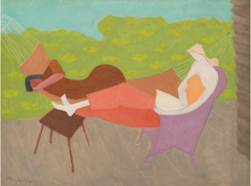 12 PROPERTY FROM A PRIVATE FAMILY COLLECTION MILTON AVERY 1885 - 1965 MARCH AND SALLY OUTDOORS signed Milton Avery and dated 1950 (lower left) oil on canvas 30 by 40 inches (76.2 by 101.6 cm) Estimate 2,000,000 — 3,000,000 USD  LOT SOLD. 5,653,000 USD