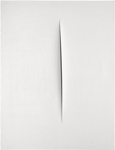 PROPERTY FROM A PRIVATE ITALIAN COLLECTION LUCIO FONTANA 1899 - 1968 CONCETTO SPAZIALE, ATTESA signed, titled and inscribed Dovrei andare a Parigi con Crippa on the reverse waterpaint on canvas 116 by 89cm.; 45 3/4 by 35in. Executed in 1965. Estimate  2,200,000 — 3,000,000 GBP