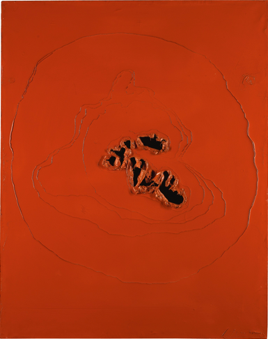 PROPERTY OF A EUROPEAN PRIVATE COLLECTOR LUCIO FONTANA 1899 - 1968 CONCETTO SPAZIALE signed; signed and titled on the reverse  oil on canvas  92 by 74cm.; 36 1/4 by 29 1/8 in. Executed in 1963-64. Estimate  800,000 — 1,200,000 GBP