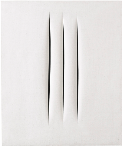 LUCIO FONTANA 1899 - 1968 CONCETTO SPAZIALE, ATTESE  signed, titled and inscribed Verga, vergone, vergani, vergottini, virgolette on the reverse waterpaint on canvas 64 by 54cm.; 25 1/8 by 21 1/4 in. Executed in 1966. Estimate  800,000 — 1,000,000 GBP