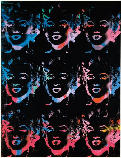ANDY WARHOL 1928 - 1987 NINE MULTICOLOURED MARILYNS (REVERSAL SERIES)  signed and dated 79/86 on the overlap acrylic and silkscreen ink on canvas 138 by 106.1cm.; 54 3/8 by 41 3/4 in. Estimate 4,000,000 — 6,000,000 GBP