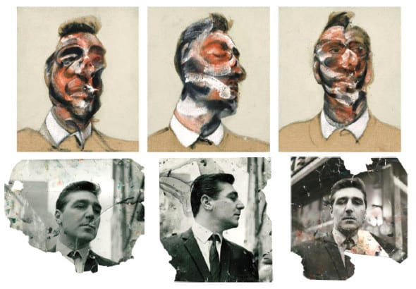 Top: Francis Bacon, Three Studies for Portrait of George Dyer (on light ground), 1964, est: £15-20m* Bottom: Photographs of George Dyer: John Deakin