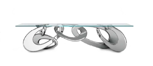 BARBERINI & GUNNELL Importante table de salle à manger « Chained up », 2014 Structure en acier (320 x 115 x 75cm) Estimation : 25 000/35 000 €