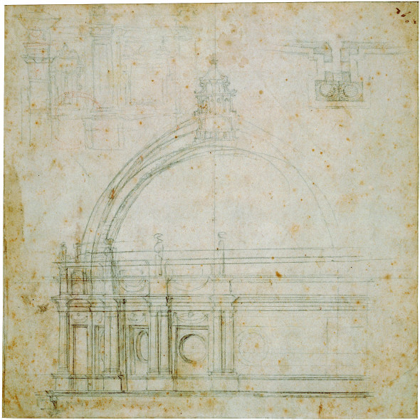 Michelangelo  Studio per alzato di San Pietro 1548-1551 Carboncino, penna e inchiostro, su carta; mm 257 x 259  Lille, Palais des Beaux-Arts, Cabinet des Dessins, Collection Wicar, inv. 93-94