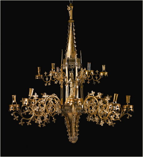 SOUTH NETHERLANDISH OR GERMAN, PROBABLY DINANT OR NUREMBERG, LATE 15TH CENTURY KAPELLENKRONE (TABERNACLE CHANDELIER) seven of the eight arms of the lower tier numbered 1 to 7 using a ring and dot numeric system, the supporting slots affixed to the matrix numbered correspondingly copper alloy, with a central iron rod and metal pins 110 by 92cm., 43 1/4  by 36 1/4 in. overall. Estimate    200,000 — 300,000 GBP