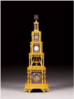 Property of a Swiss Private Collector An Ormolu and Geneva Enamel Musical Automaton Tower Clock, circa 1790 Estimate: 1,000,000 - 1,500,000 GBP