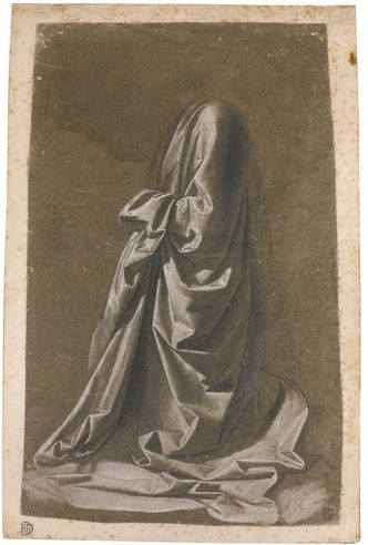 WORKSHOP OF ANDREA DEL VERROCCHIO, CIRCA 1470, TRADITIONALLY ATTRIBUTED TO LEONARDO DA VINCI DRAPERY STUDY OF A KNEELING FIGURE FACING LEFT Drawn with the brush in brown-grey wash, heightened with white, on linen prepared grey-green, laid down on paper; Numbered in brown ink: X 288 by 181 mm Estimate  1,500,000 — 2,000,000 GBP