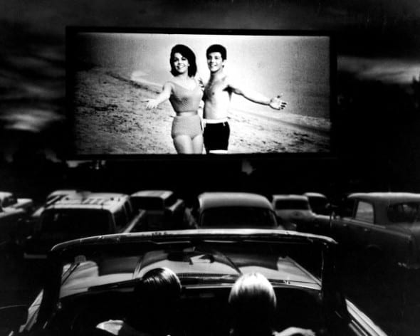Annette Funicello and Frankie Avalon in a scene from Beach Blanket Bingo, shown at a drive-in movie theater in Florida, 1965