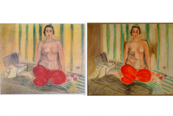 Henri Matisse, Odalisque in Red Pants (Odalisque a la culotte rouge) (1925) (left) and the fake left in its place (right) Photo: via Art Daily