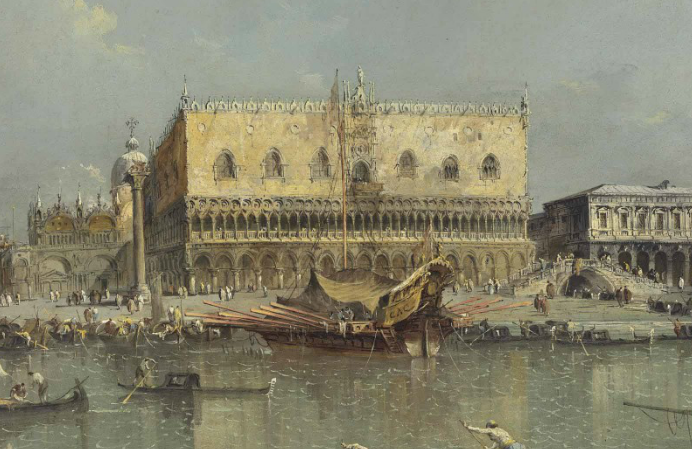 Francesco Guardi, VENICE, THE BACINO DI SAN MARCO, WITH THE PIAZZETTA AND THE DOGE'S PALACE (Particolare)