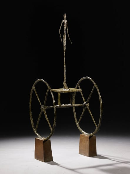 Property of a Distinguished Private Collector Alberto Giacometti Chariot Inscribed with the signatureA. Giacometti, with foundry markAlexis Rudier Fondeur Parisand numbered2/6 Painted bronze on wooden base Height: 57 in.; 144.7 cm Conceived in 1950 and cast in 1951-52 Estimatein excess of $100 million