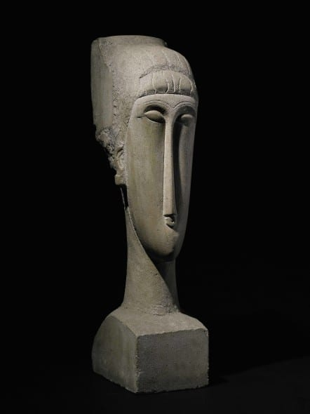 Property of a Private European Collector Amedeo Modigliani Tête Stone Height: 28¾ in.; 73 cm Carved 1911-12. Estimate in excess of $45 million