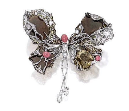 NET PROCEEDS TO BENEFIT THE NEW YORK CITY BALLET FANCY BROWN-YELLOW DIAMOND, DIAMOND AND CONCH PEARL 'BALLERINA BUTTERFLY' BROOCH, CO-DESIGNED BY CINDY CHAO AND SARAH JESSICA PARKER