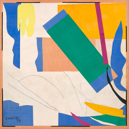 Henri Matisse Memory of Oceania 1953. Gouache on paper, cut and pasted, and charcoal on paper mounted on canvas 284.4 x 286.4 cm)