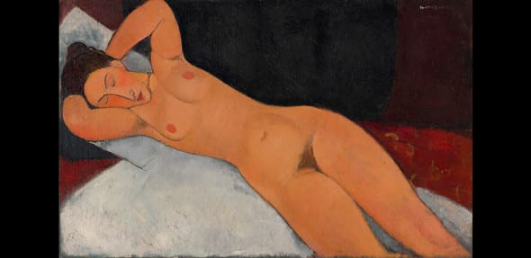 AMEDEO MODIGLIANI NUDE (NU) 1917 Oil on canvas, 73 x 116.7 cm  Solomon R. Guggenheim Museum, New York Solomon R. Guggenheim Founding Collection By gift 41.535