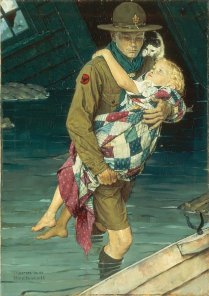 Norman-Rockwell-A Scout Is Helpful
