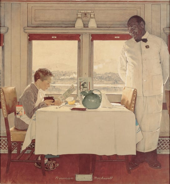 Norman-Rockwell-Boy in a Dining Car