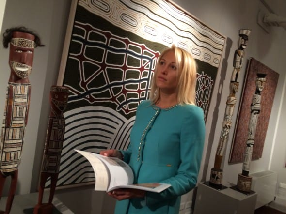 """Diana Avgusta Stauer at the exposition """"Earth Wind and Fire"""",  Galleria Gracis. Milan."""