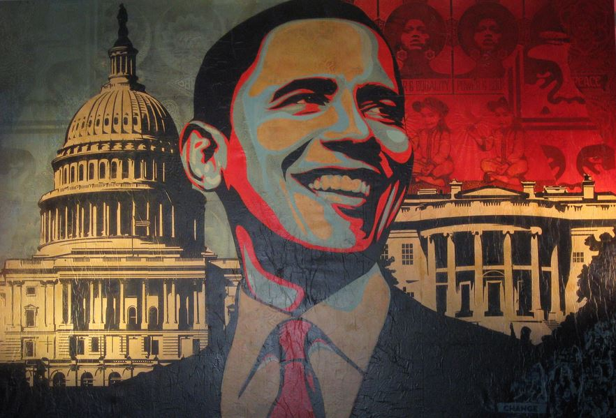 "Shepard Fairey, ""Capitol Hill"", 2009 Mixed media on canvas Cm 270 x 400"