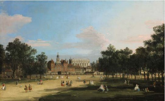 Giovanni Antonio Canal, Called Canaletto London, a View of the Old Horse Guards and Banqueting Hall, Whitehall Seen from St. James' Park Est. $4/6 million