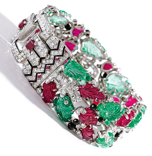 FROM THE COLLECTION OF EVELYN H. LAUDER SOLD TO BENEFIT THE BREAST CANCER RESEARCH FOUNDATION AN ICONIC PLATINUM, COLORED STONE, DIAMOND AND ENAMEL 'TUTTI FRUTTI' BRACELET, CARTIER, NEW YORK Estimate  750,000 — 1,000,000  USD
