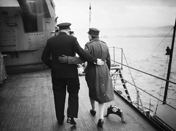 Sir Winston Churchill and his daughter Mary aboard the HMS Duke of York, December 1941 © Lt. C J Ware/ IWM via Getty Images