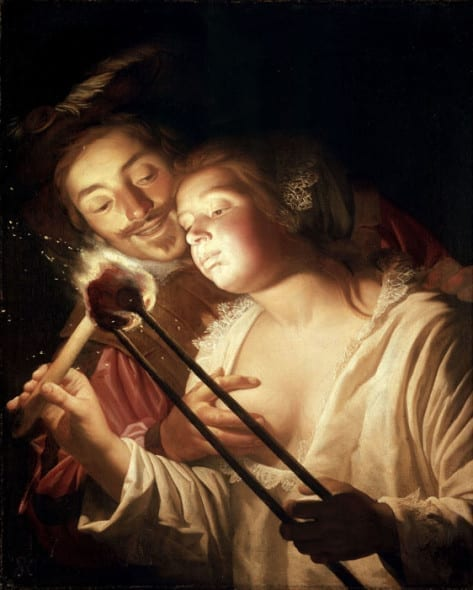 Gerard von Honthorst - Girl Blowing on Coal, Embraced by Her Lover