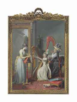 Jean Antoine Théodore Giroust (Bussy-St-Georges 1753-1817 Mitry-Mory) Mademoiselle d'Orléans Taking a Harp Lesson oil on canvas 99 x 72¾ in. (250 x 185 cm.) Price Realized  $1,445,000 Set Currency Estimate $500,000 - $700,000