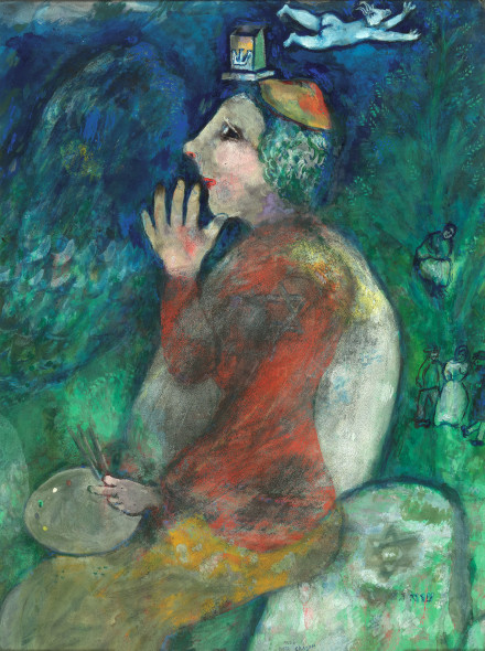 Marc-Chagall, Self portrait with Tefillin, 1928, watercolour, pastel and gouache on paper glued on cardboard. Brussels, RoyalMuseums of Fine Arts of Belgium, inv. 11111. © RMFAB, BrusselsChagall®SABAM Belgium 2015 / photo: J. Geleyns / Roscan