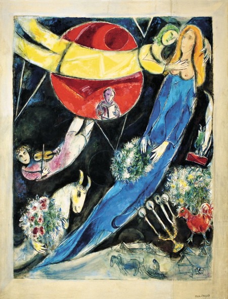 Marc Chagall,Red and Black World, 1951, Gouache, watercolour, pastel on paper, glued on canvas.  Private Collection © Chagall ® SABAM Belgium 2015