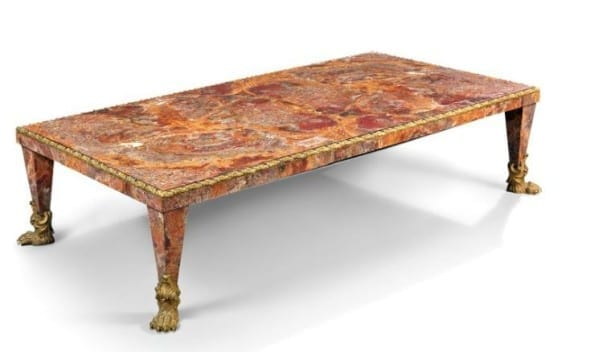 AN ITALIAN ORMOLU-MOUNTED RED SICILIAN JASPER COFFEE TABLE 20TH CENTURY, POSSIBLY ROME