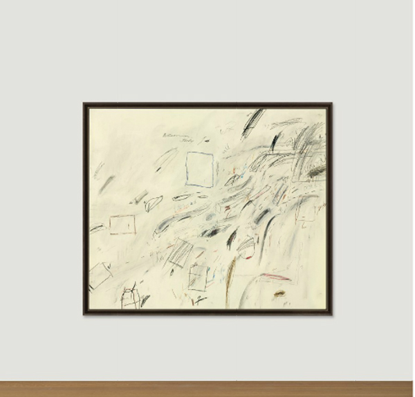 "Cy Twombly (1928-2011). Untitled. Firmato ""'Cy Twombly'""(in alto a destra); iscritto e datato ""Bolsena July 10"" (in alto al centro). Vernice a base di olio, pastello a cera e grafite su tela, 200.7 x 239.4 cm. Eseguito nel 1969. In asta a New York da Christie's il 13 maggio. Stima: 35.000.000 – 55.000.000 dollari"