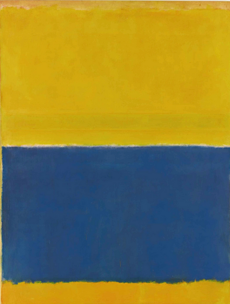 Mark Rothko (1903-1970). UNTITLED (YELLOW AND BLUE). Olio su tela, 242.9 x 186.7 cm. In asta a New York da Sotheby's il 12 maggio. Stima: 40.000.000 – 60.000.000 dollari