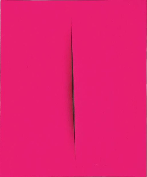 Lucio Fontana CONCETTO SPAZIALE, ATTESA SIGNED, TITLED, DEDICATED AND INSCRIBED ON THE REVERSE, WATERPAINT ON CANVAS. EXECUTED IN 1964 Estimate   500,000 — 700,000  EUR  LOT SOLD. 819,000 EUR