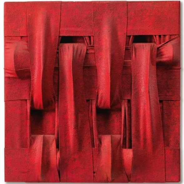 Salvatore Scarpitta RED LADDER N. 2 SIGNED, TITLED AND DATED 1960 ON THE REVERSE, BANDAGES, OIL AND RESIN ON PANEL Estimate  250,000 — 350,000  EUR  LOT SOLD. 675,000 EUR