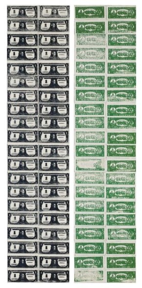 Lot 26 TO THE BEARER ON DEMAND: AN IMPORTANT PRIVATE EUROPEAN COLLECTION Andy Warhol FRONT AND BACK DOLLAR BILLS Estimate   12,000,000 — 18,000,000  GBP Price Realized: £